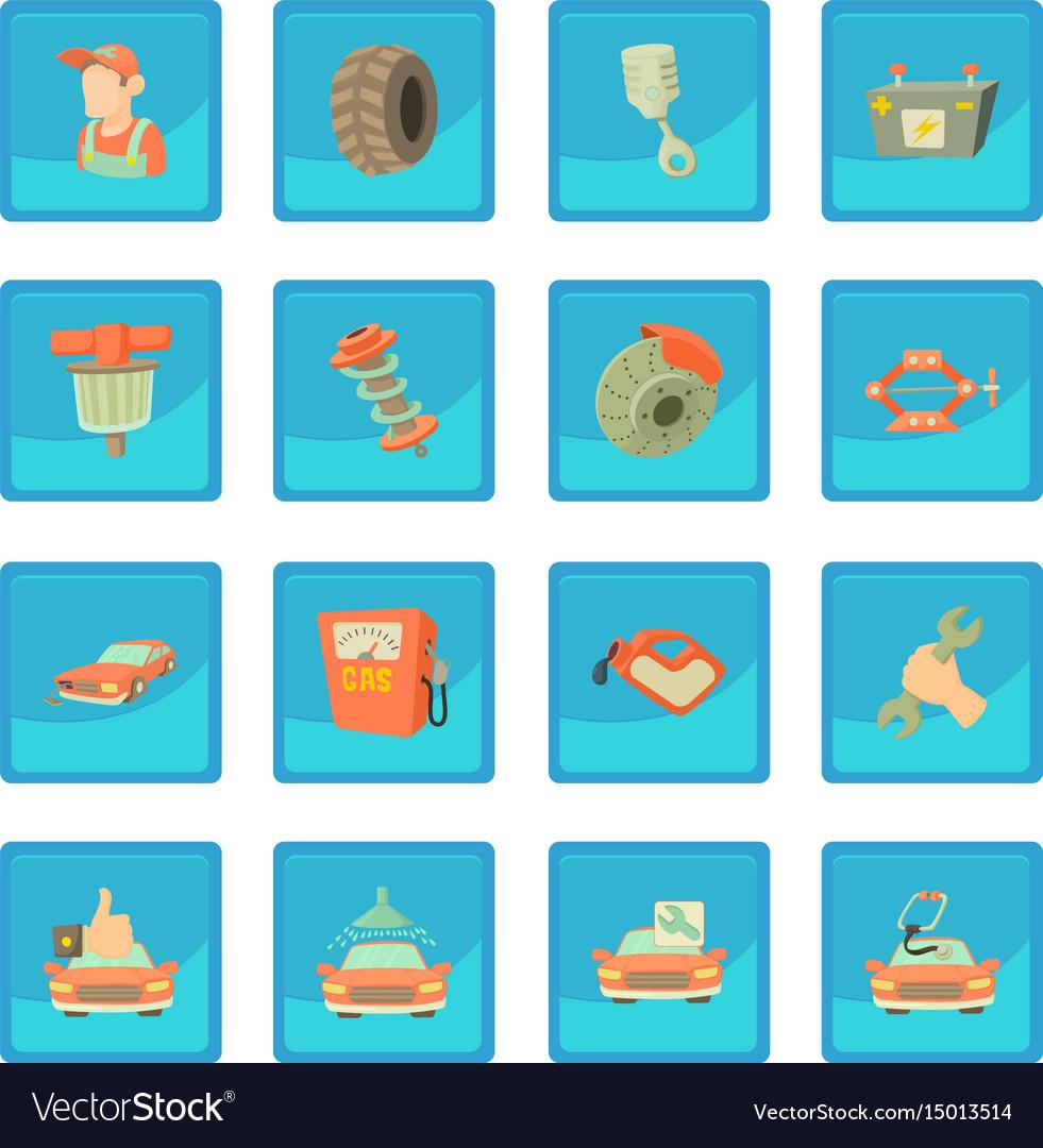 Car Repair Items Icon Blue App Royalty Free Vector Image