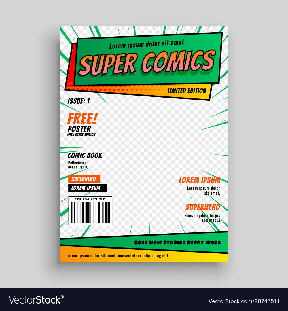 Comic Book Cover Template | Comic Book Cover Layout Template Royalty Free Vector Image