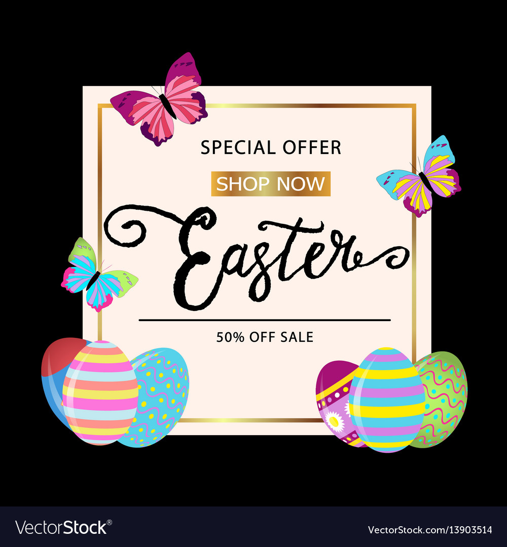 Easter banner background template with beautiful