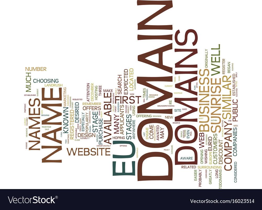 Eu domains text background word cloud concept