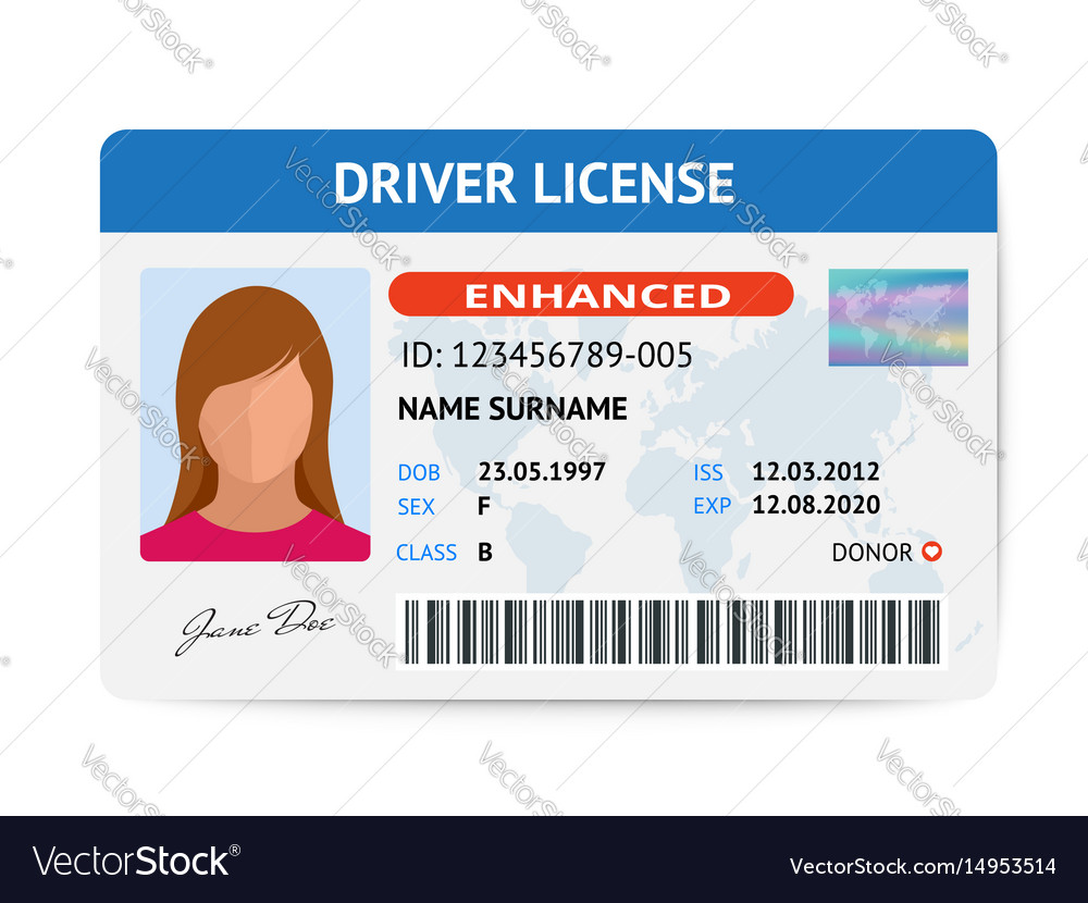 Flat woman driver license plastic card template vector image