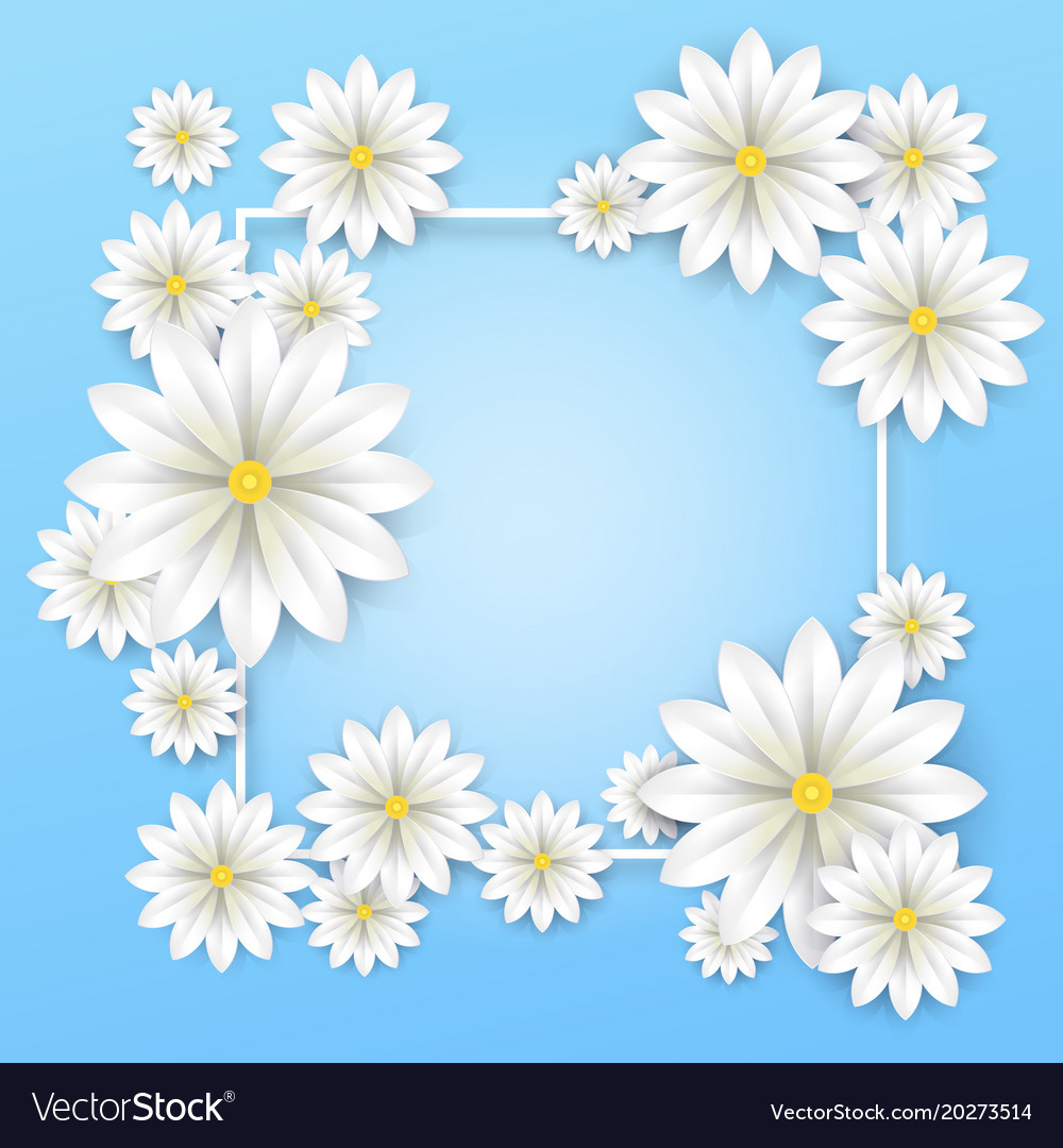 Floral background white paper flowers frame vector image mightylinksfo