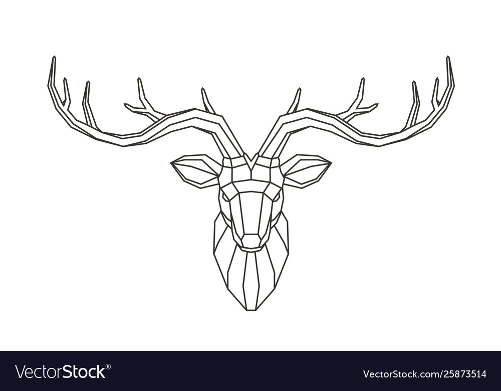 Geometric deer head abstract animal low poly