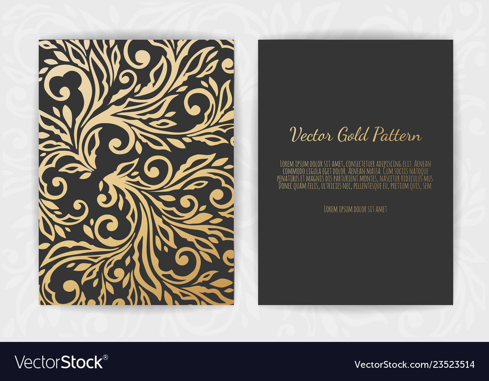 Gold vintage greeting card on a black background