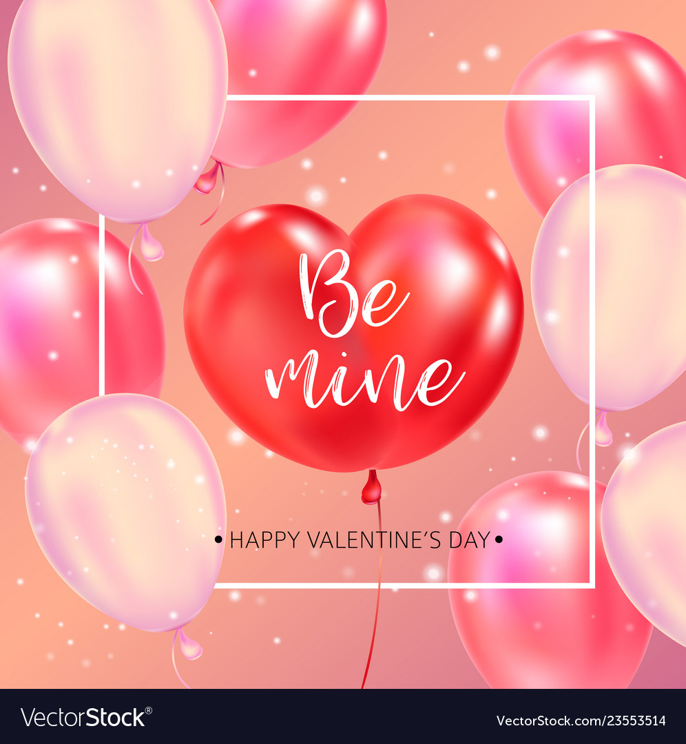 Happy valentines day typography poster with