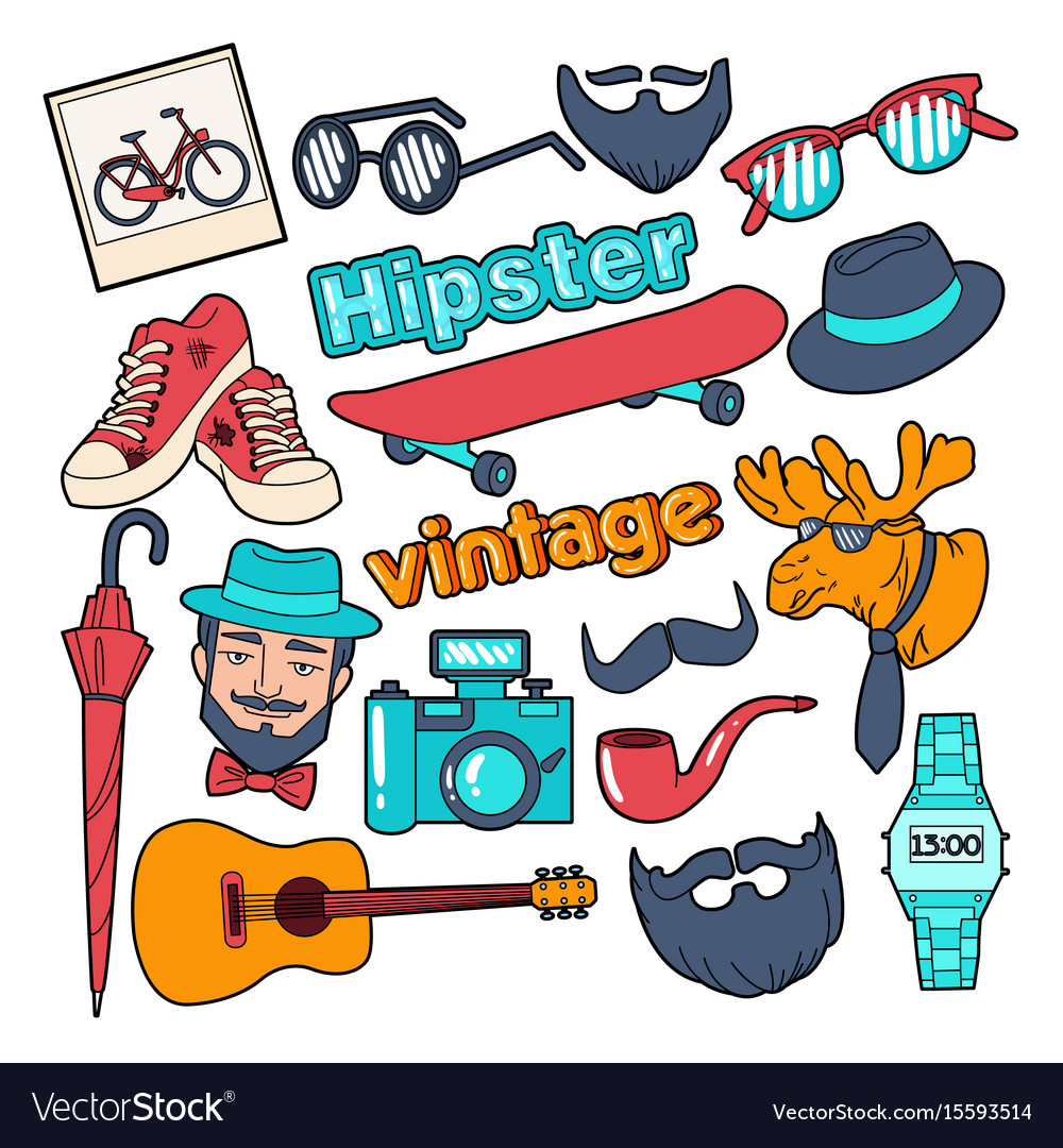 Hipster style vintage doodle with beard
