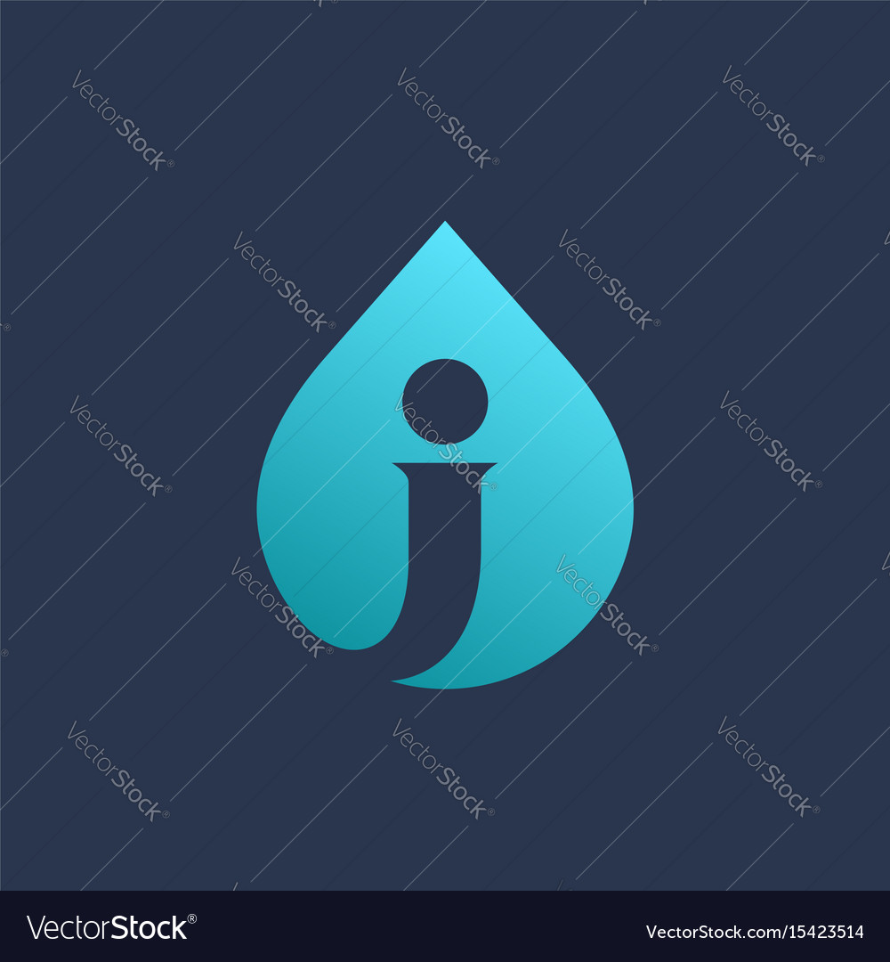 Letter j water drop logo icon design template