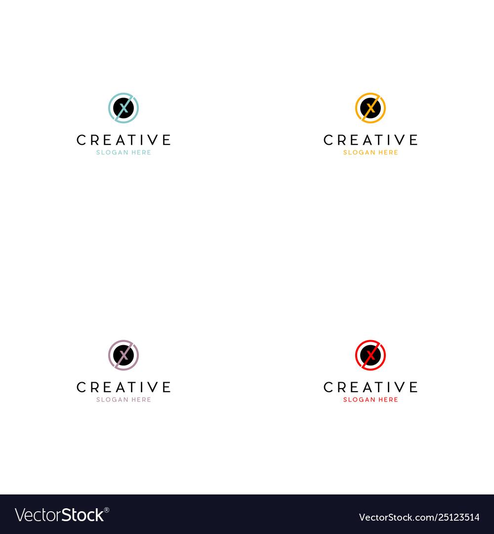 Letter x circle creative logo design