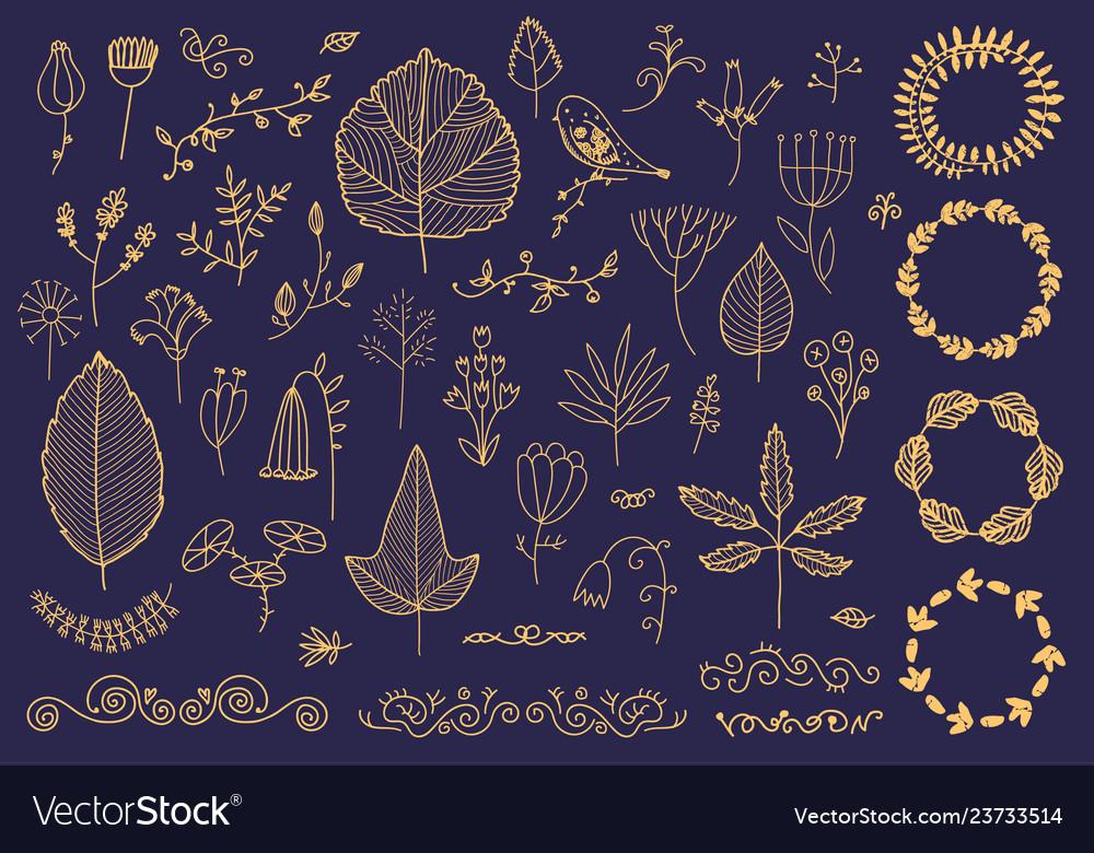 Set of hand drawn floral frames dividers