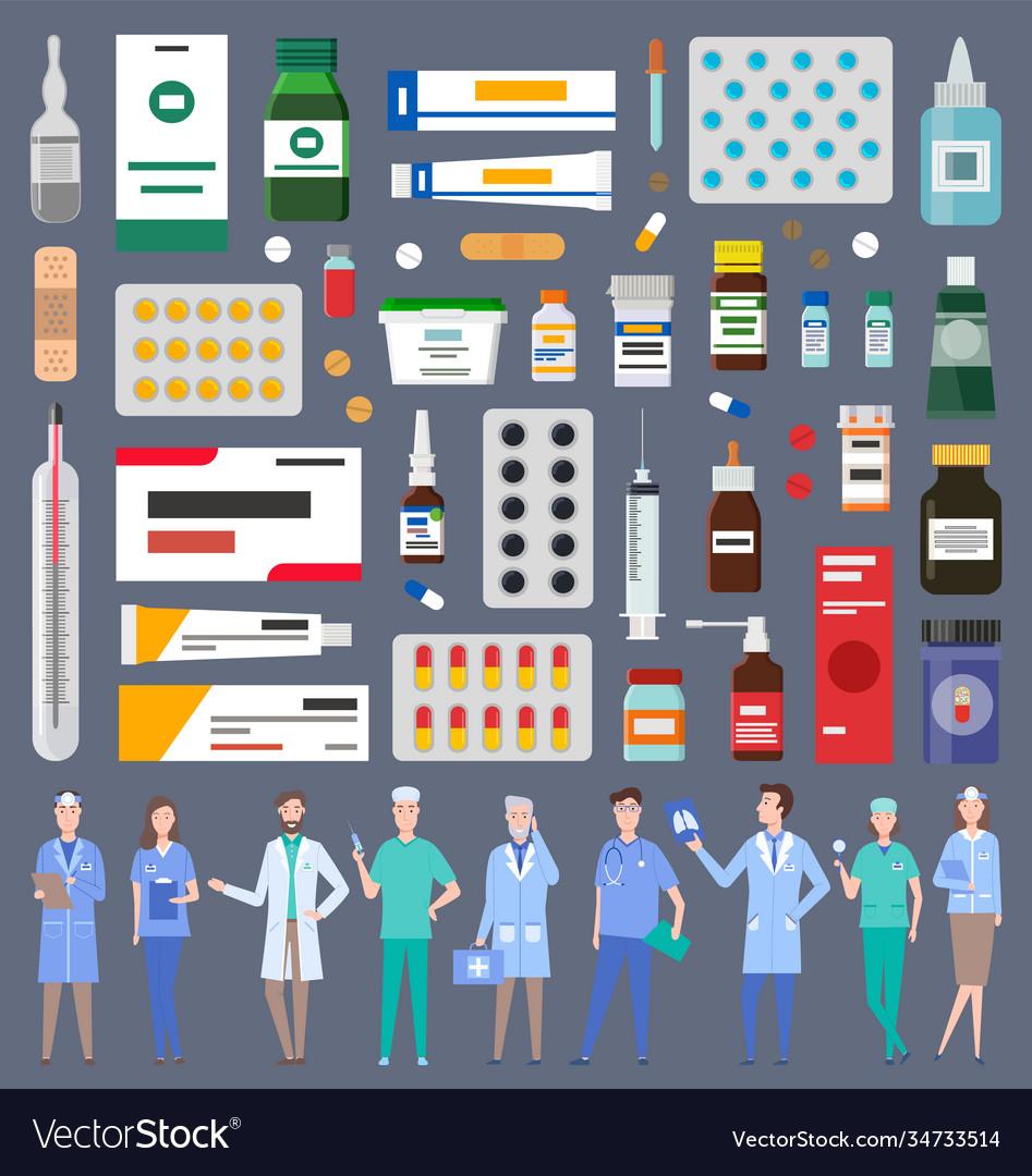 Set various medications medicines pills