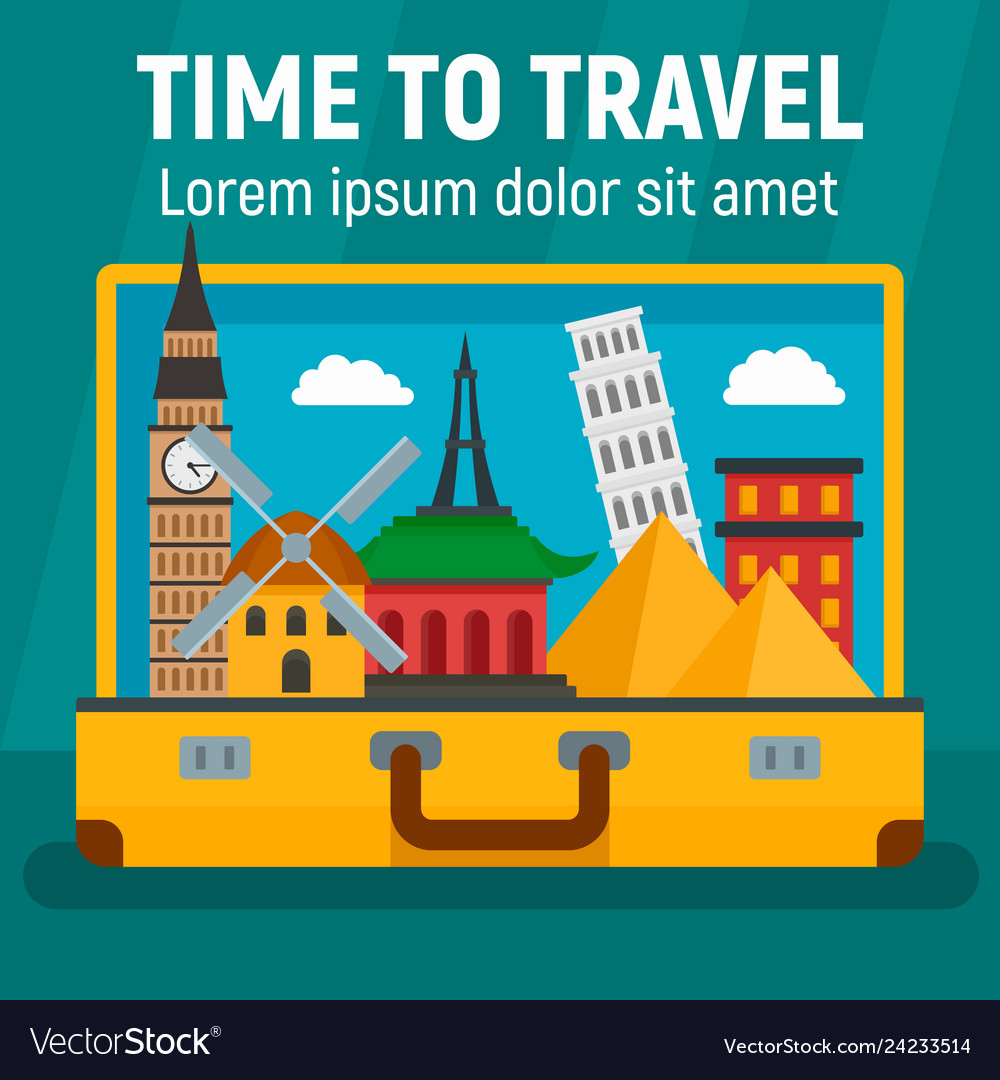 Time to travel concept background flat style