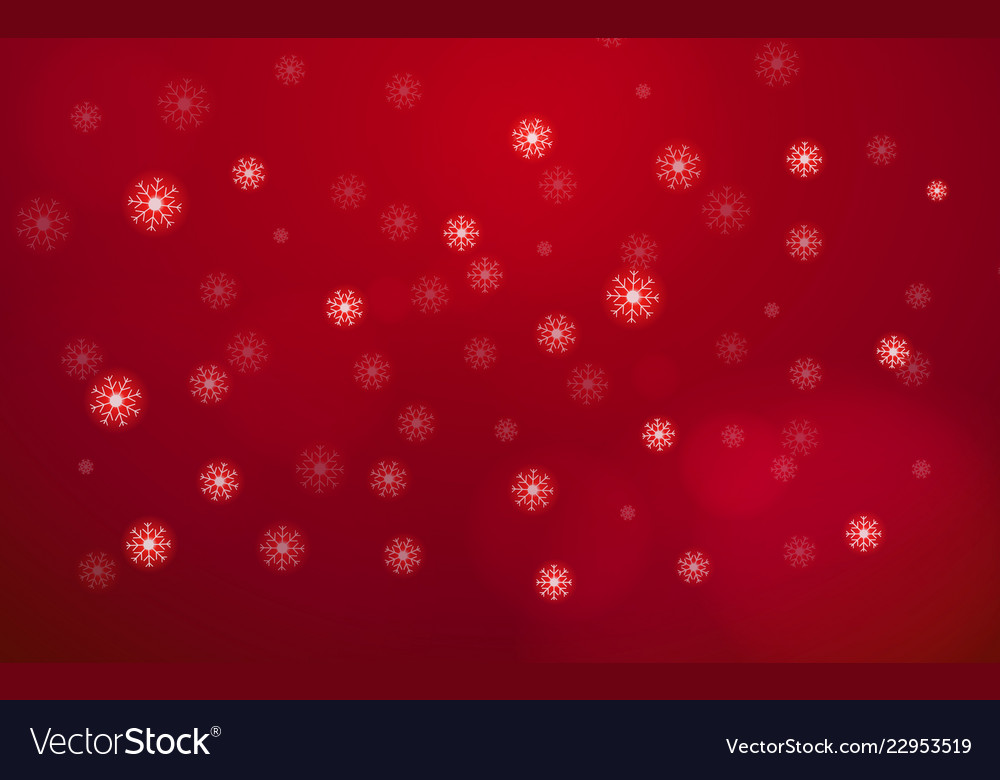 Abstract white snow flake falling from sky on red