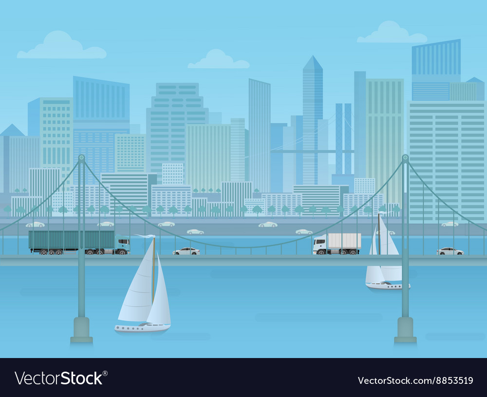 Amazing Bridge with trucks and cars on the modern