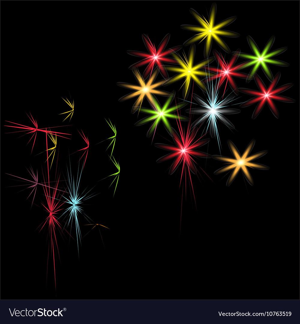 Festive patterned firework bursting in various