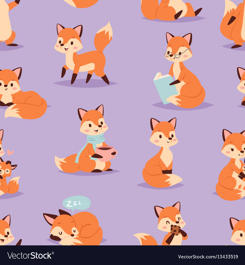 Fox cute adorable character doing different