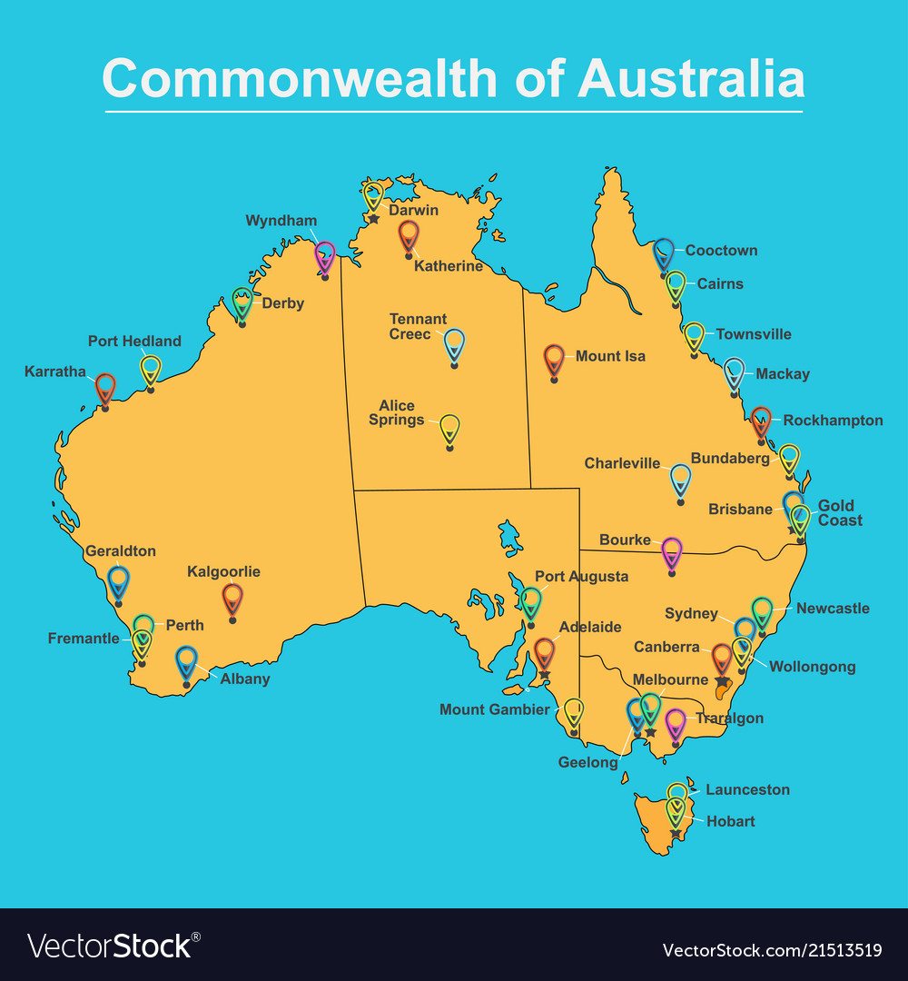 Map of australia with major towns and cities