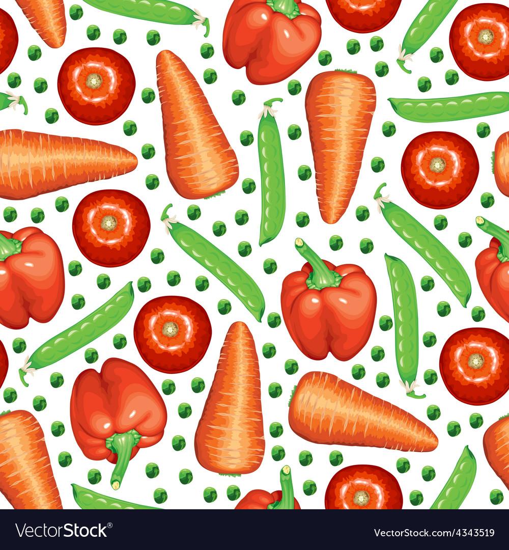 Peas vegetables pattern vector image