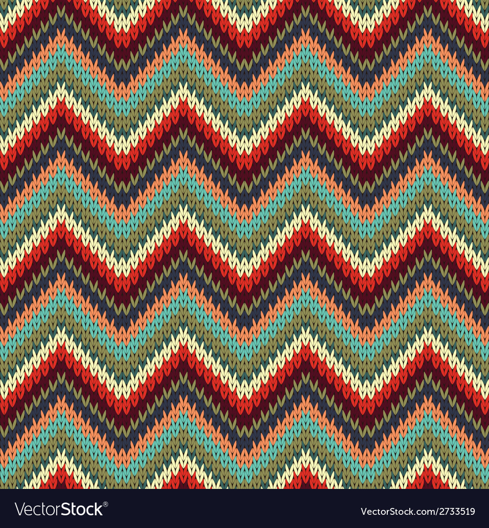 Seamless Zigzag knitting pattern Royalty Free Vector Image