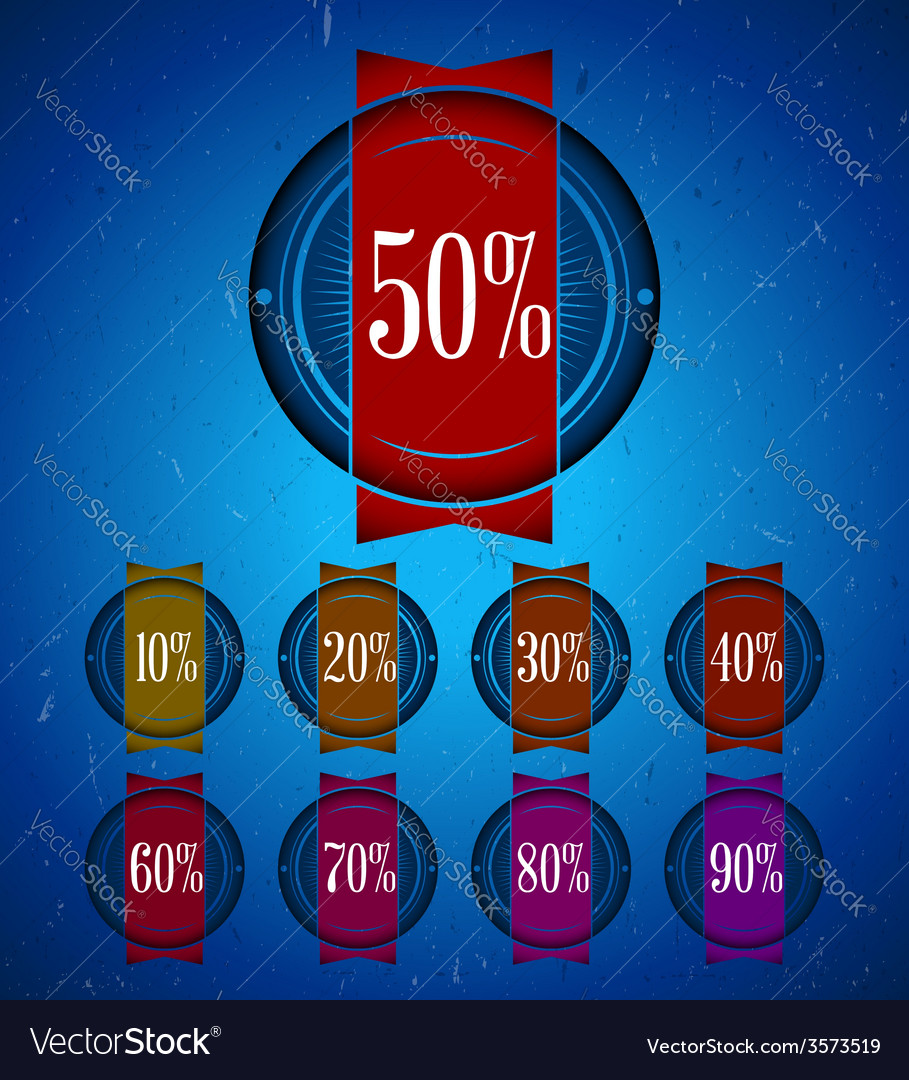 Set of sale labels with ribbon vector image