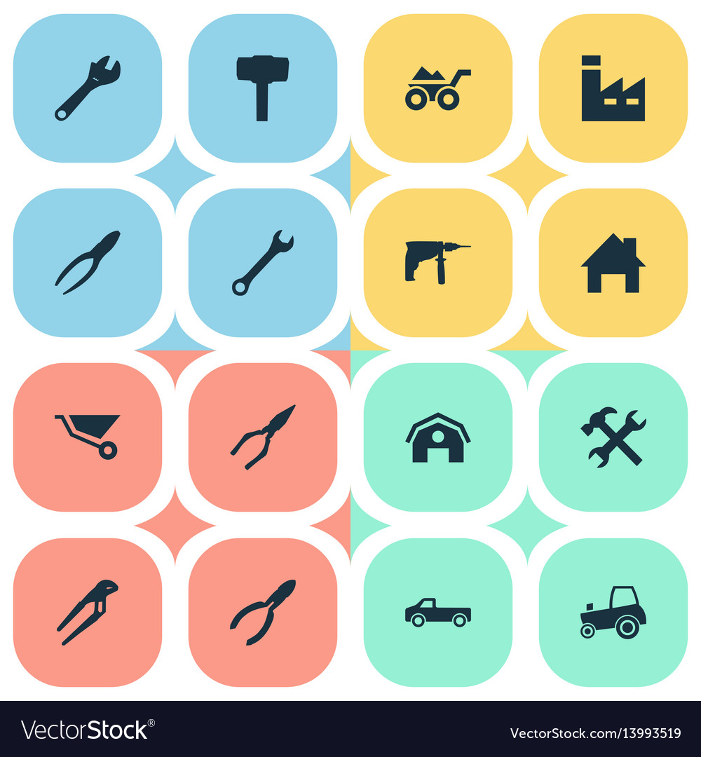 Set of simple wrench icons