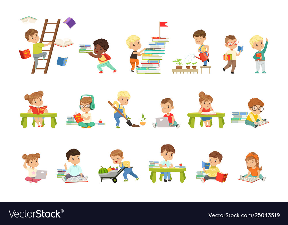 Smart little kids reading books set cute
