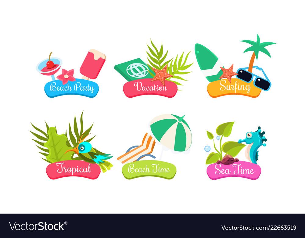 Summer travel logo template set beach party