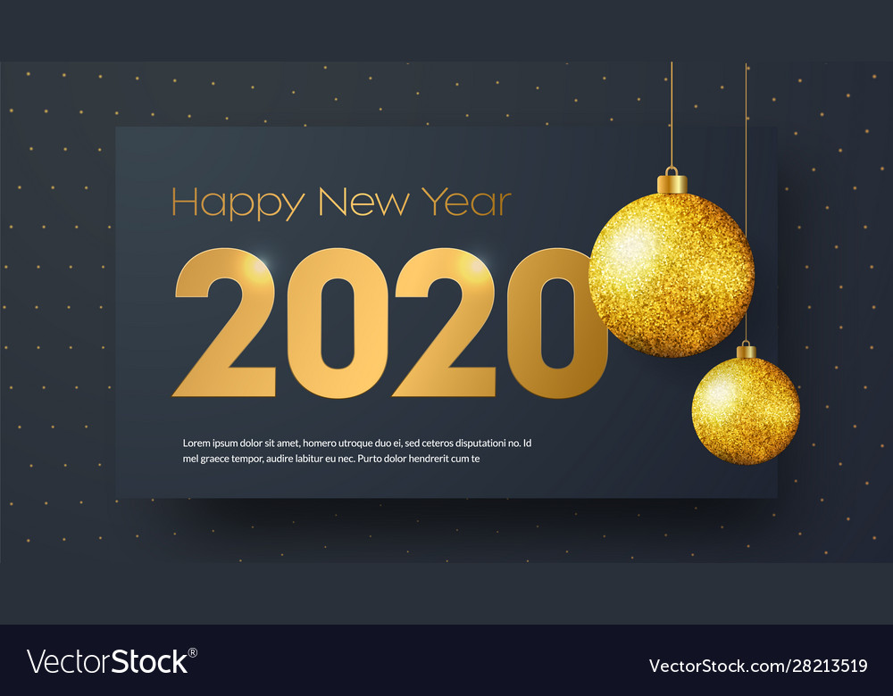 Template black banner happy new year 2020 with