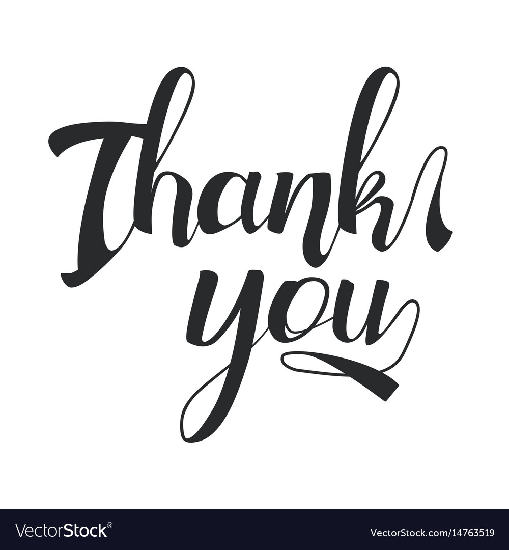 Thank you black hand drawn lettering
