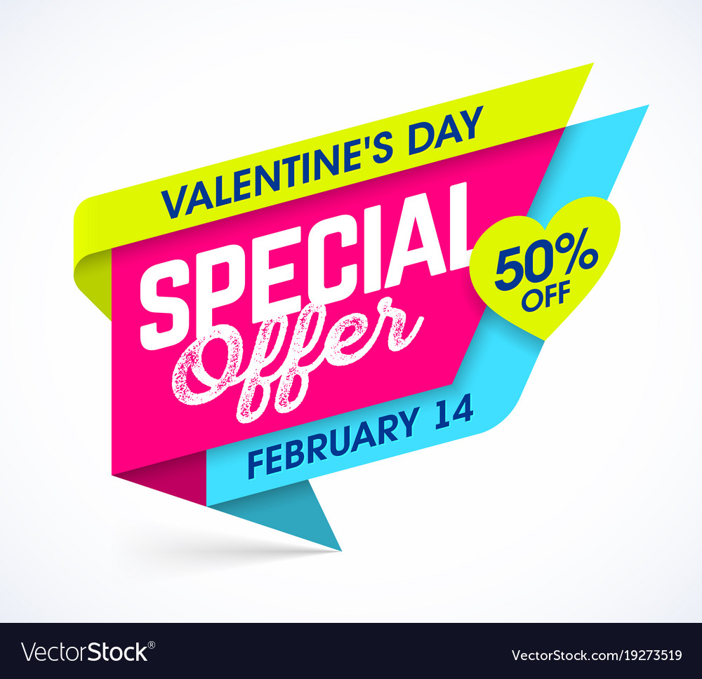 Valentines Day Special Offer Sale Banner Vector Image