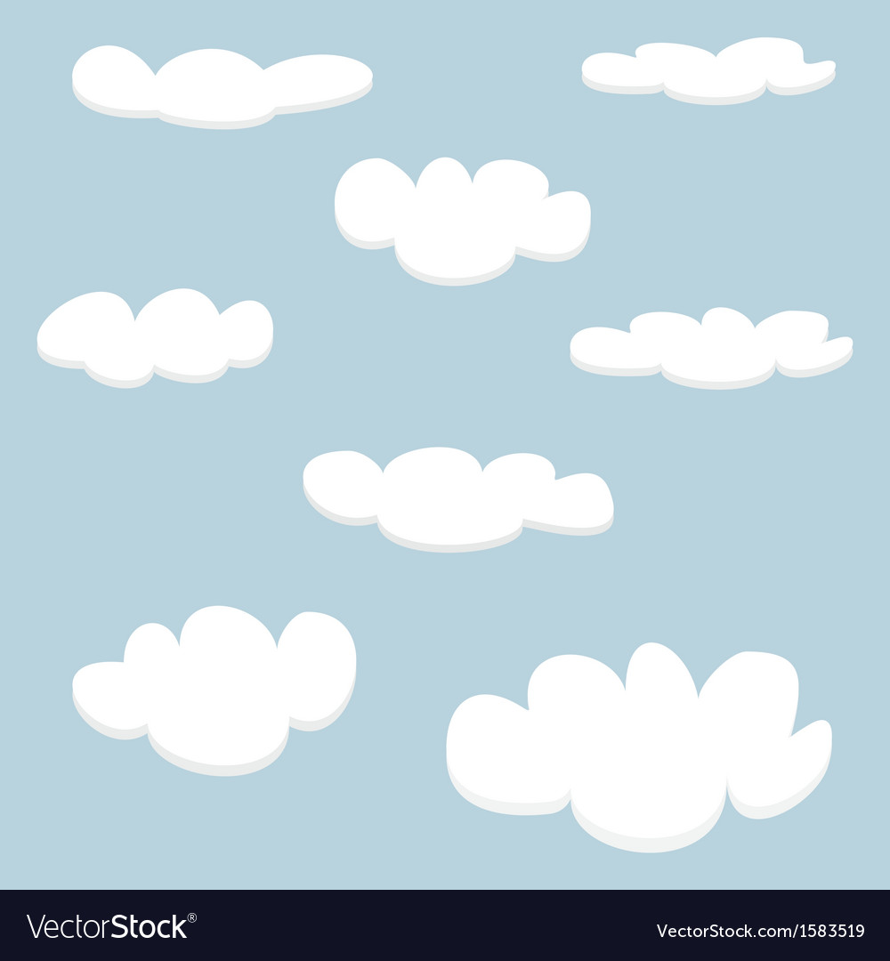 White clouds on light blue sky background set