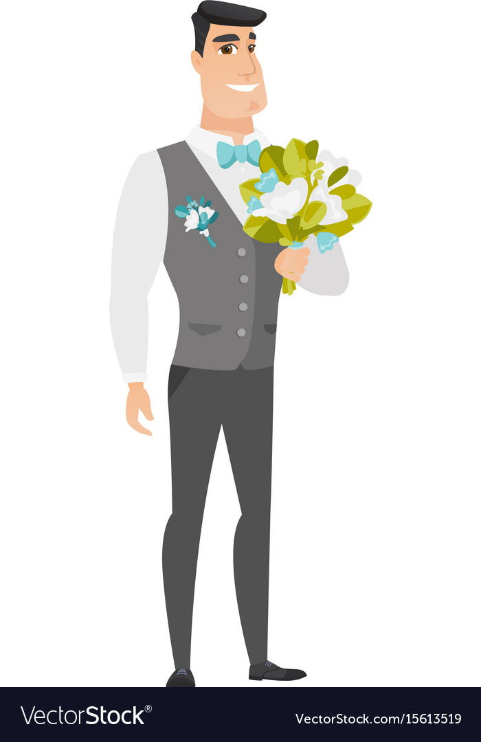 Young caucasian groom with a bridal bouquet