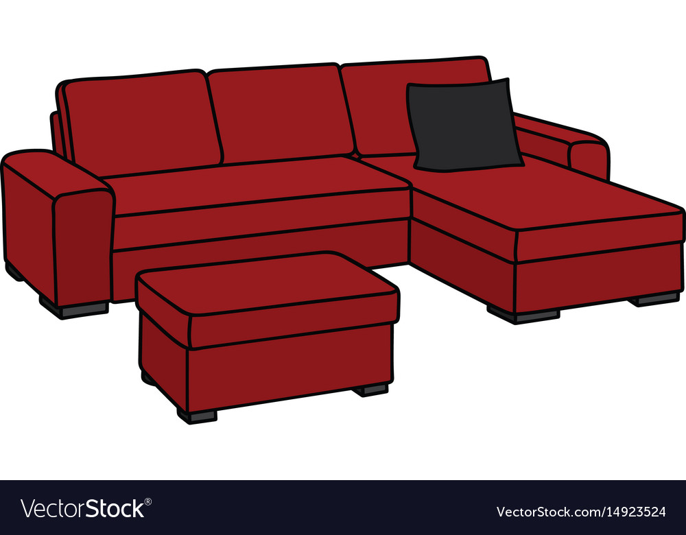 Big dark red sofa