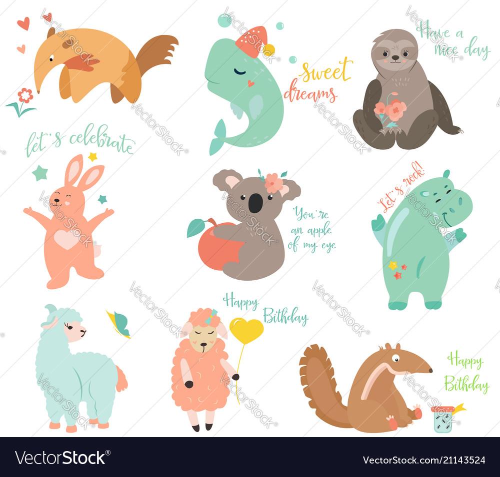 Big set of funny cartoon animals