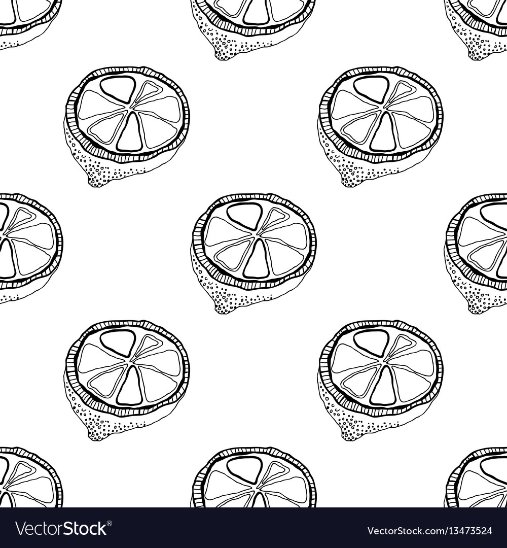 Black and white fruit seamless pattern with lemons