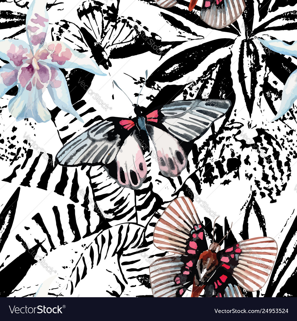 Butterflies and orchid watercolor exotic pattern