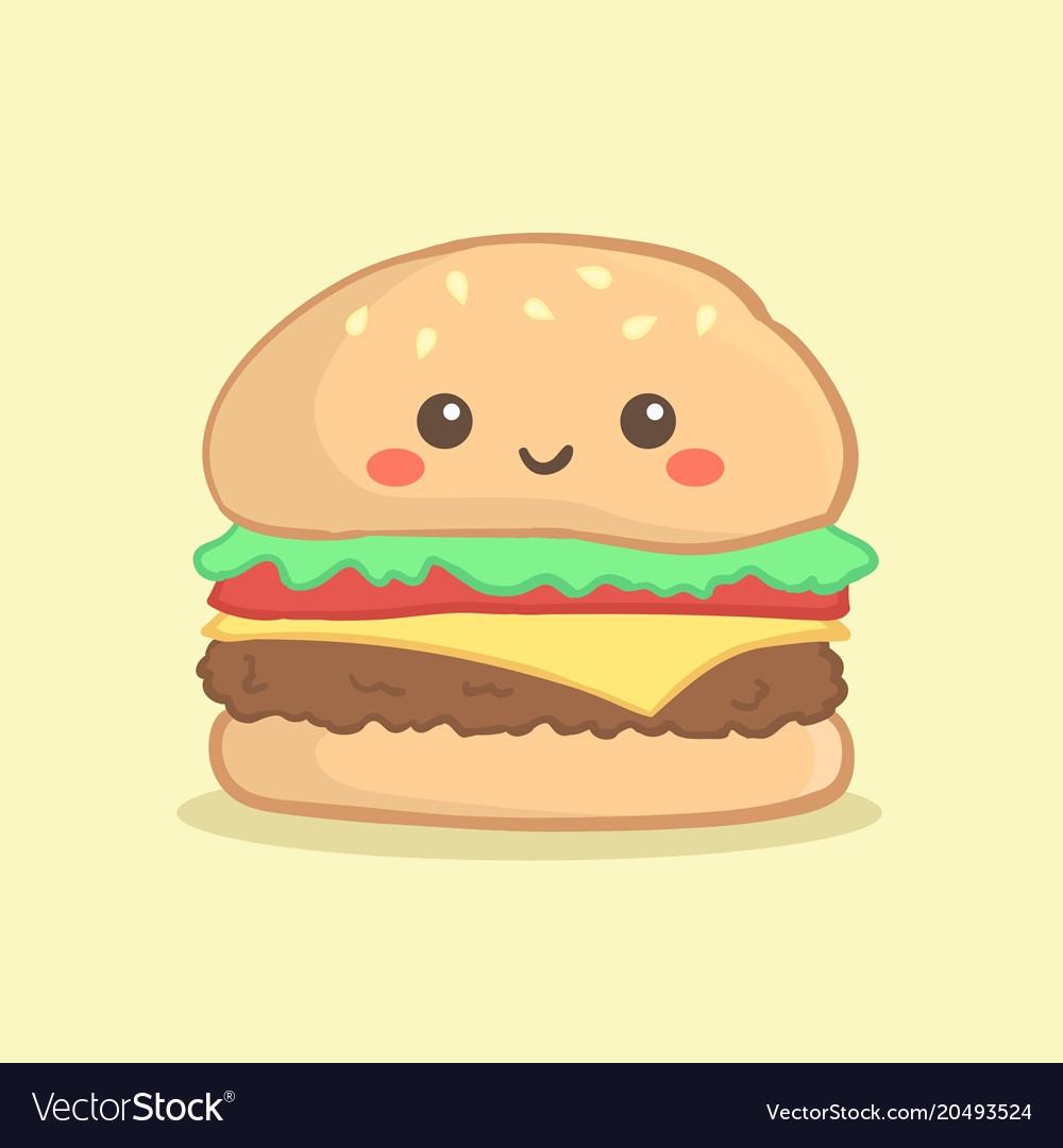cute hamburger burger cartoon royalty free vector image rh vectorstock com cartoon hamburger and fries cartoon hamburger show