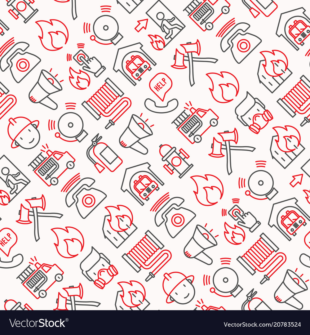 Firefighter seamless pattern with thin line icons