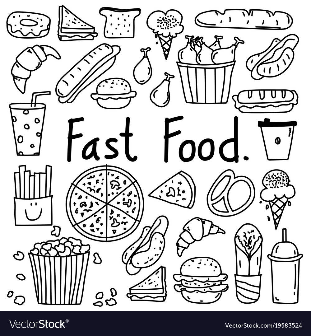 Line Hand Drawn Doodle Fast Food Set Royalty Free Vector