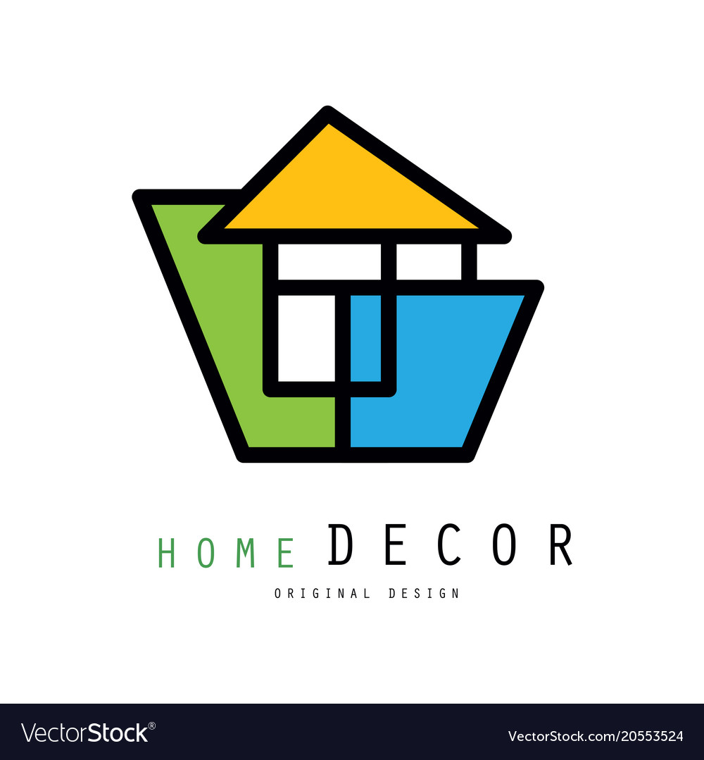 Linear Logo For Home Decorating Company Or Vector Image