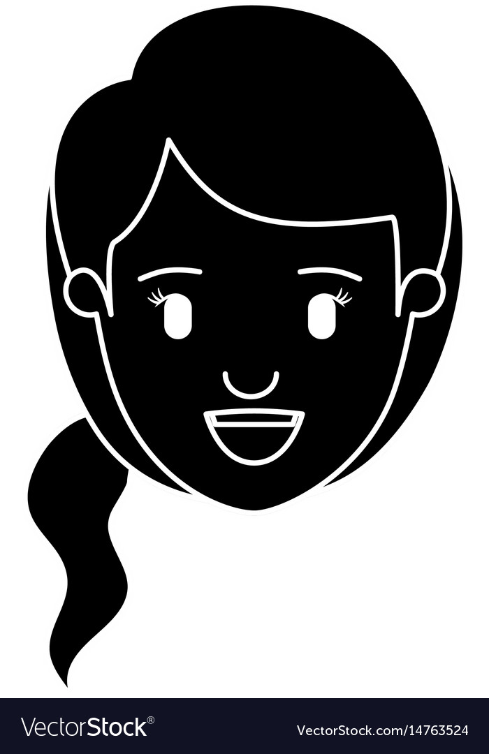 Silhouette black front view face woman with side
