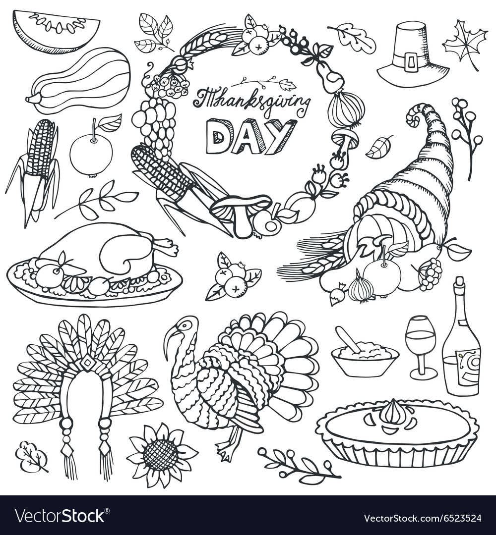 Thanksgiving day doodle iconswreathLinear set