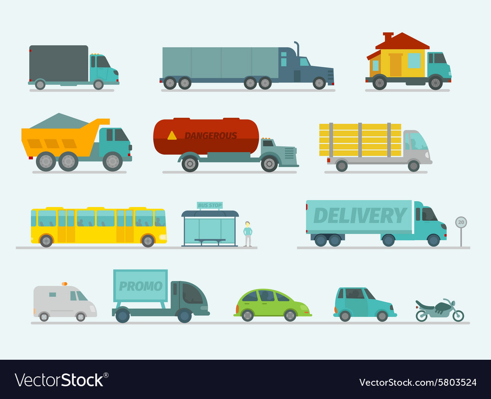 Transportation set Trucks end bus passenger cars vector image