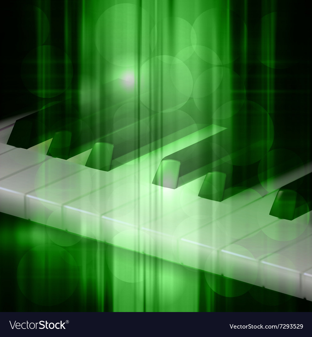 Abstract green music background with piano keys