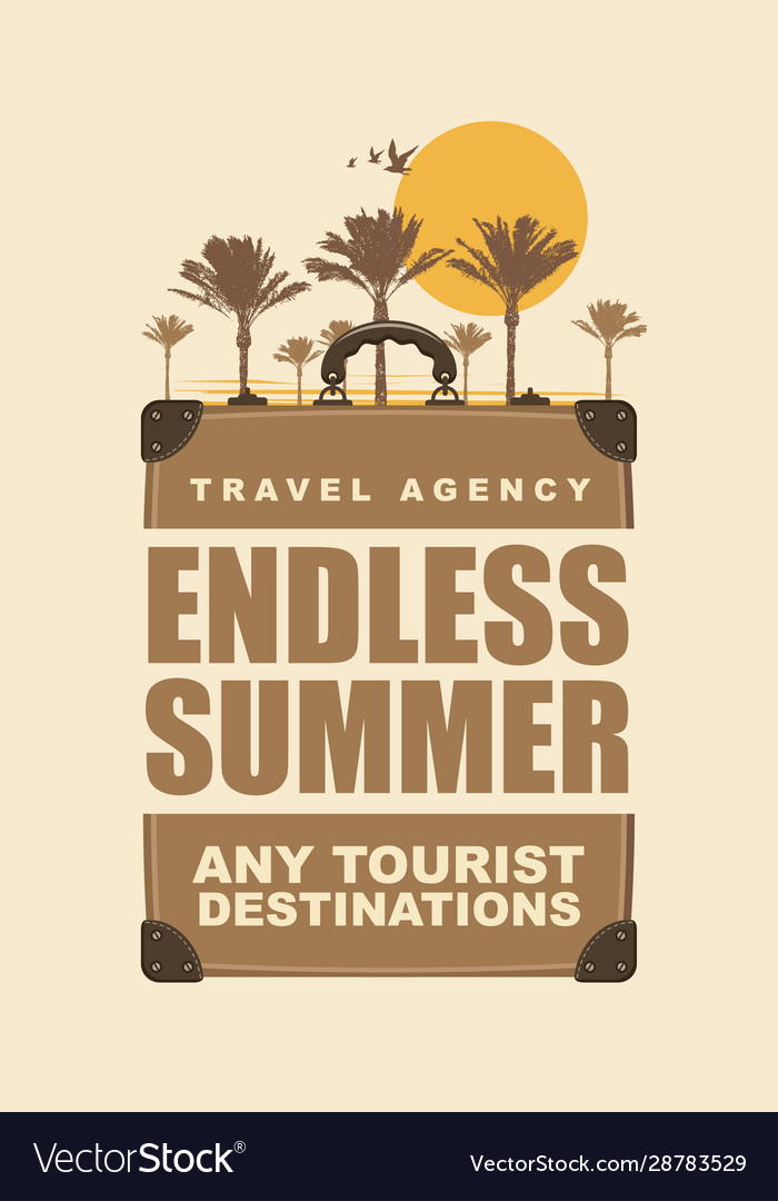 Banner with travel suitcase palms and sun
