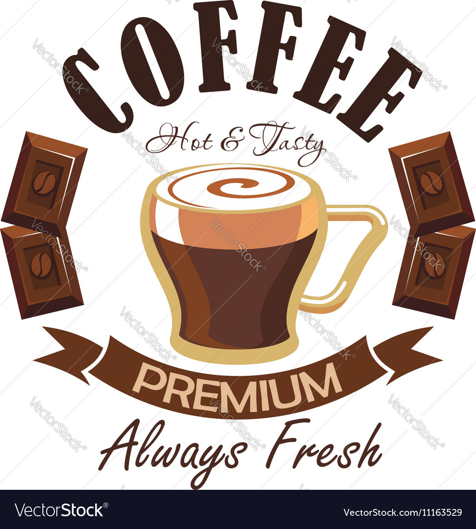 Coffee shop symbol with espresso and chocolate vector image