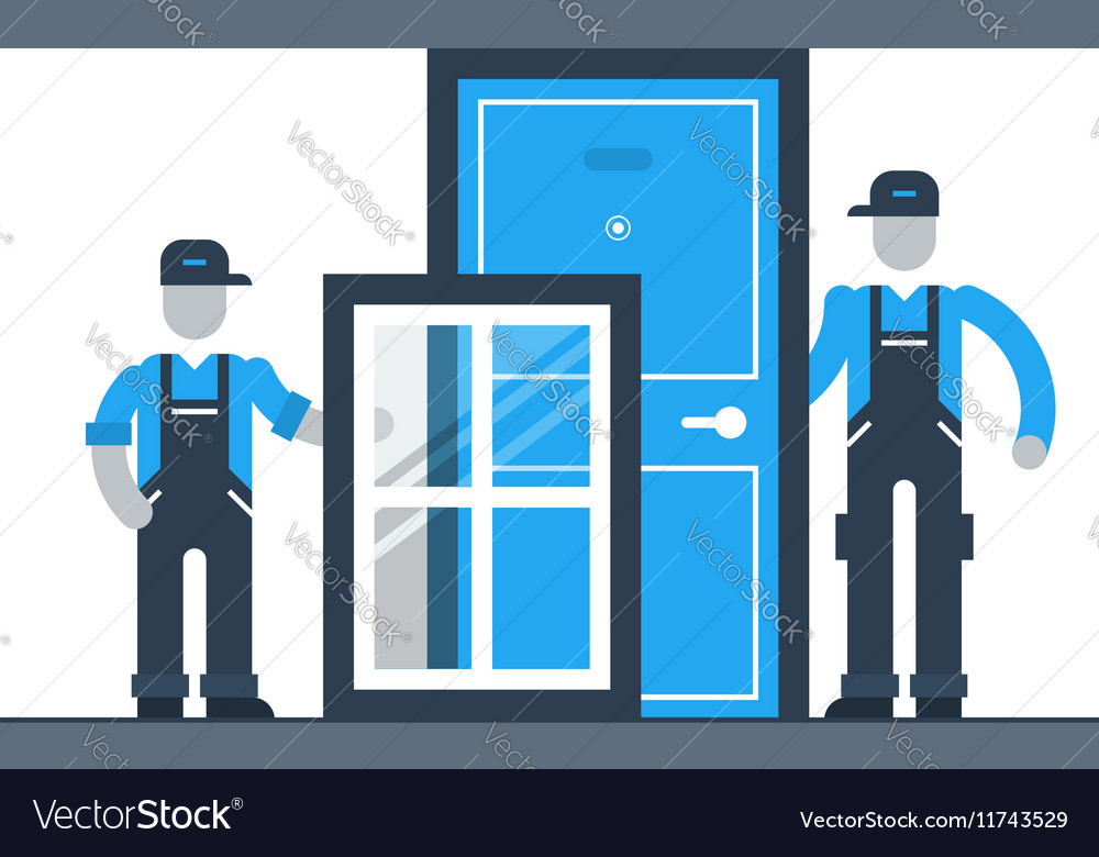 Construction workers with window frame and door vector image