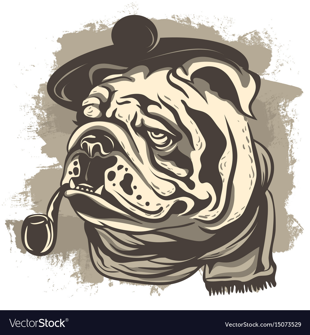 Drawing of a bulldog detective wearing a cap and