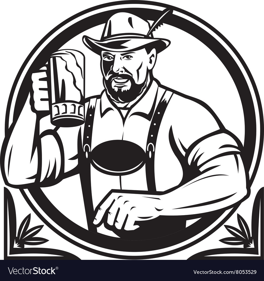 German Beer Drinker Oktoberfest Black and White vector image