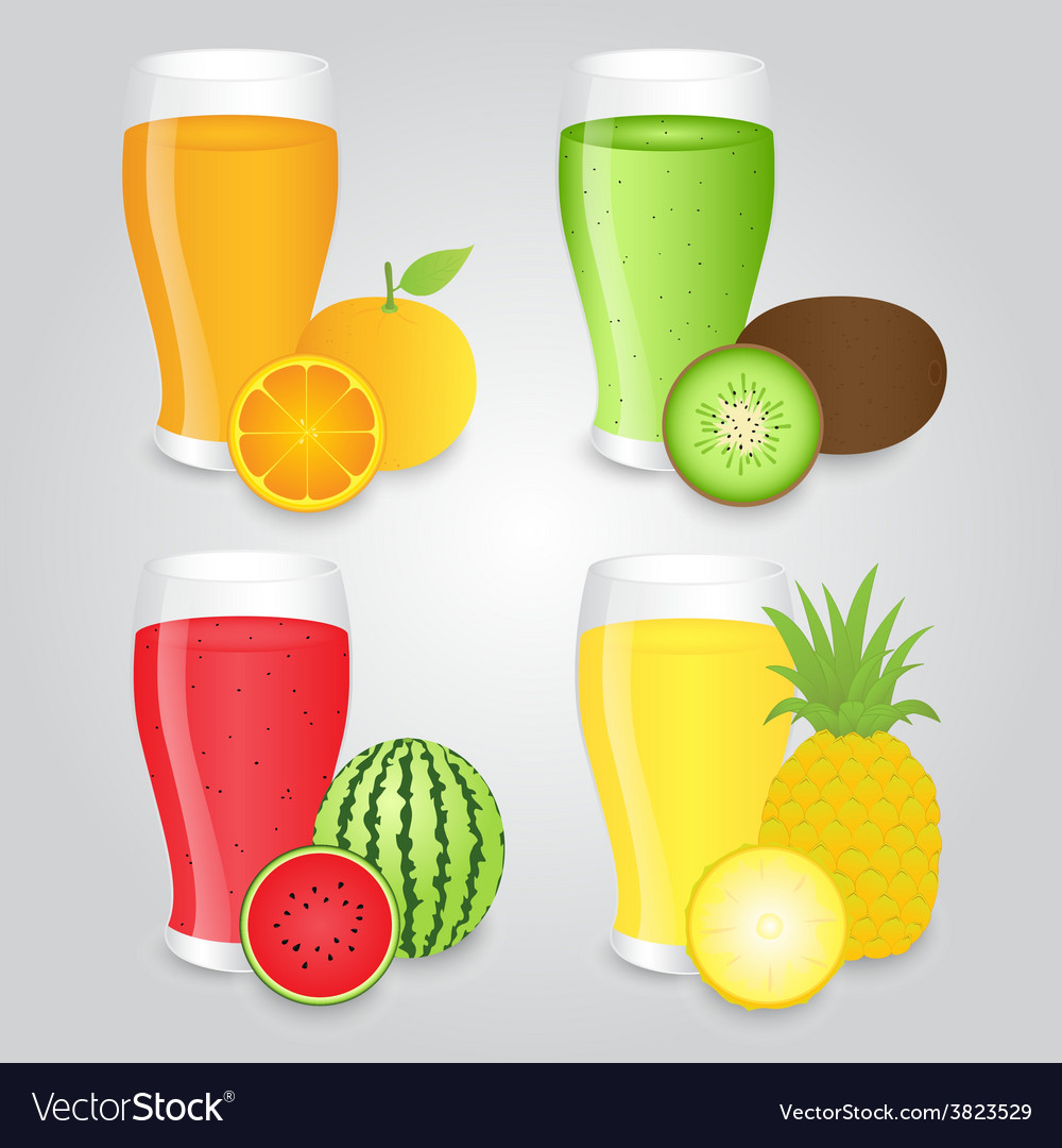 Glasses of Fruits Juice Isolated on Background
