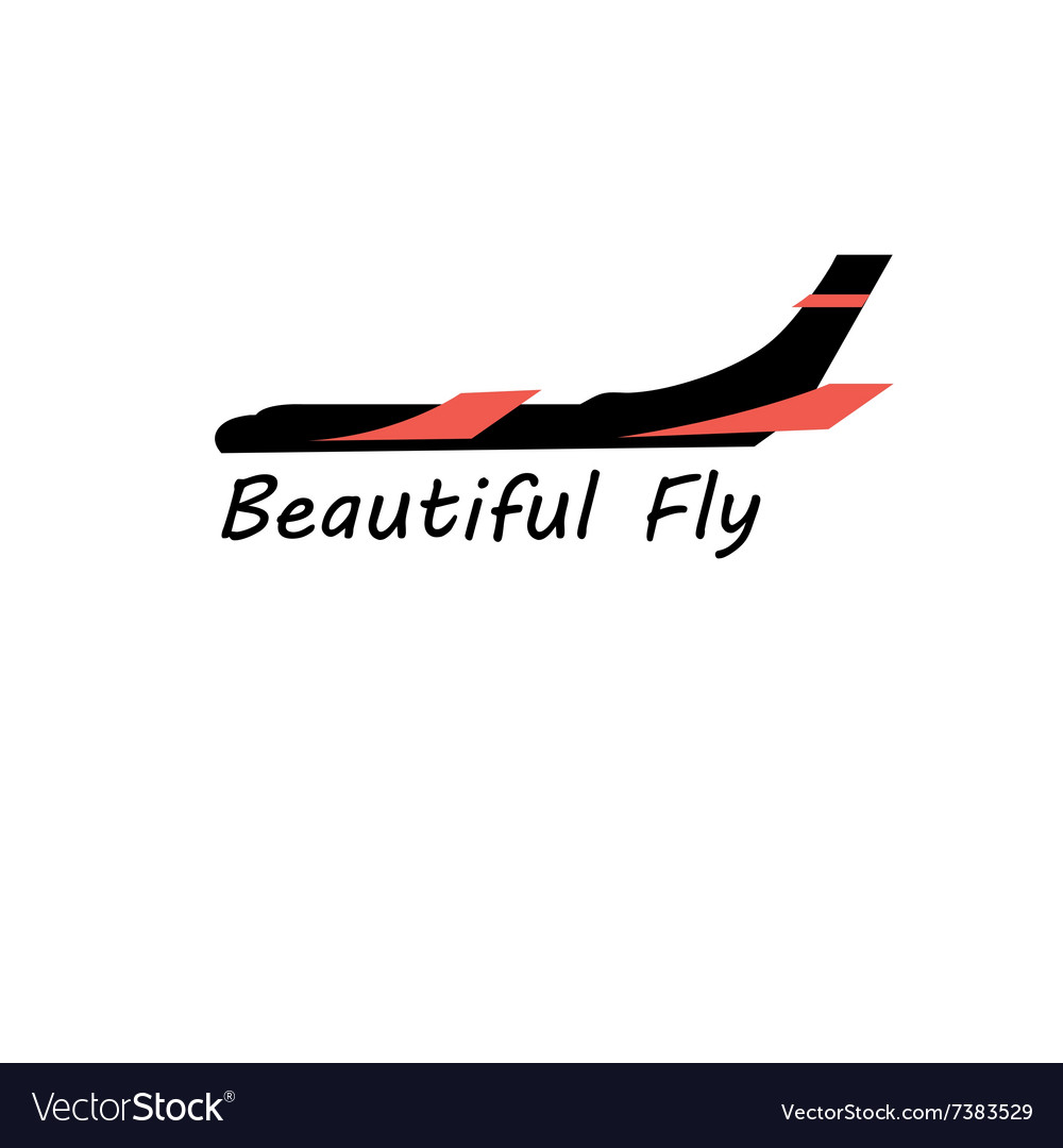 Graphic sign a plane on a white background